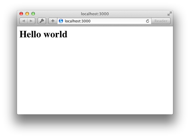 A browser displaying a big 'Hello World'